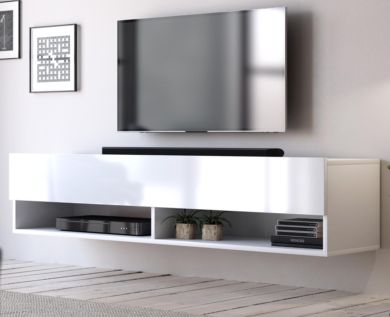 Tv Lowboard Board Weiss Hochglanz Hangend 140 Flat Hangeschrank