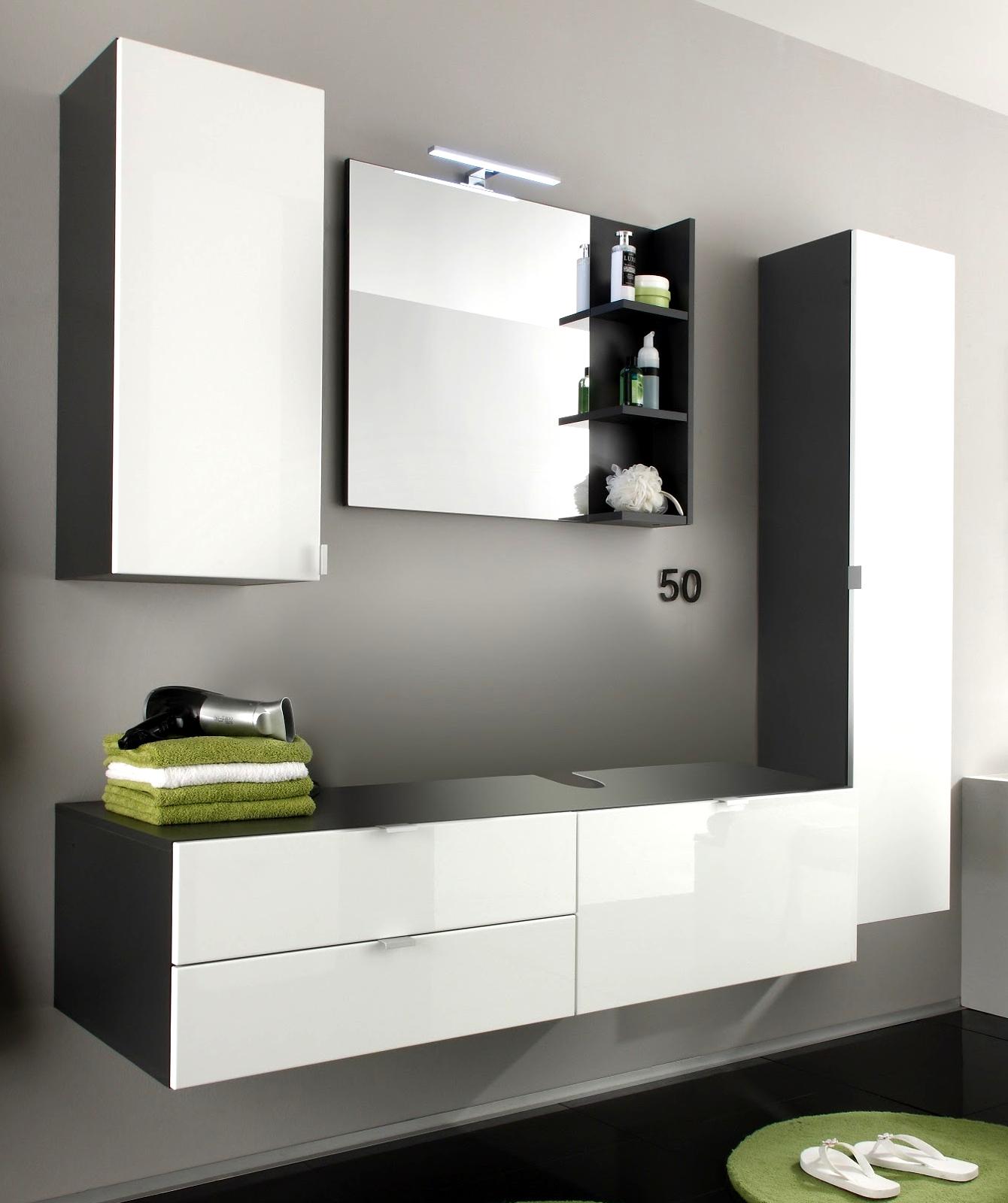 Bad Möbel Badezimmer Set weiß Hochglanz und grau Waschplatz ...