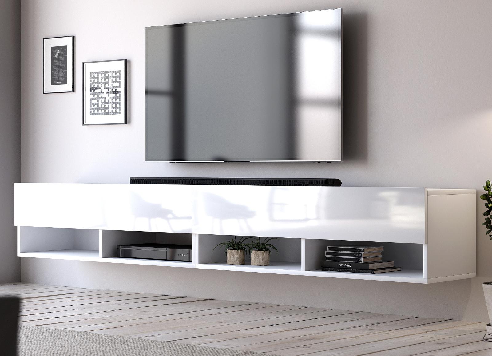 Tv Lowboard Epsom Hochglanz Weiss Hangend 200 Cm