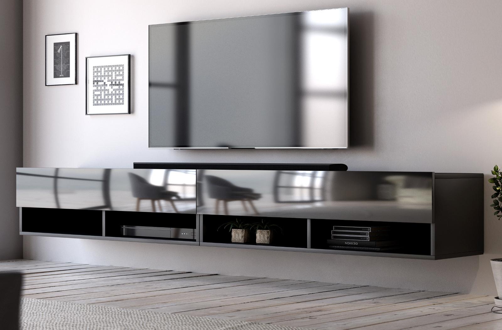 Tv Lowboard Epsom Xxl Schwarz Hochglanz 280 X 30 Cm