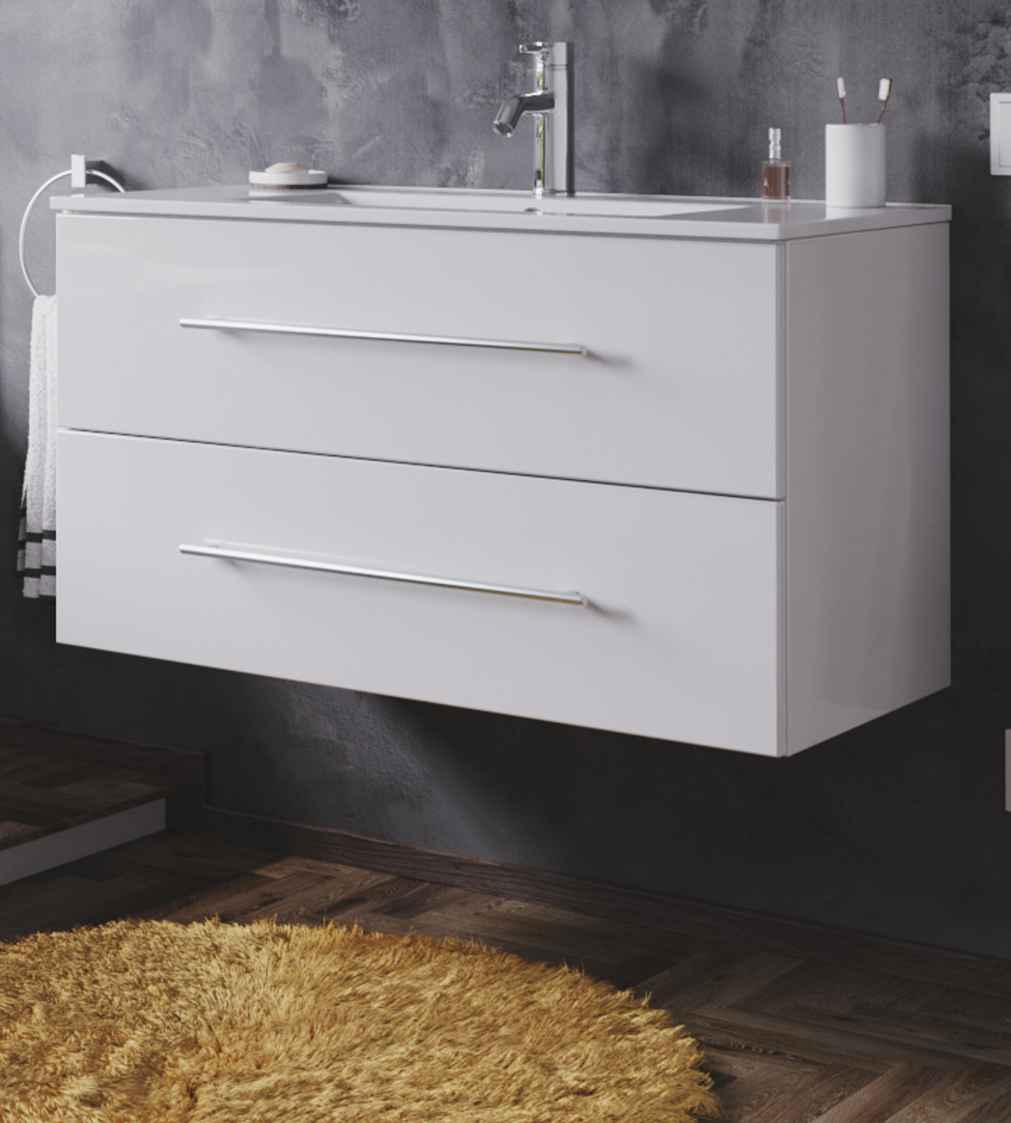 Waschbeckenunterschrank Homeline in Hochglanz weiß Waschtisch hängend inkl.  Waschbecken 20 teilig 20 x 20 cm