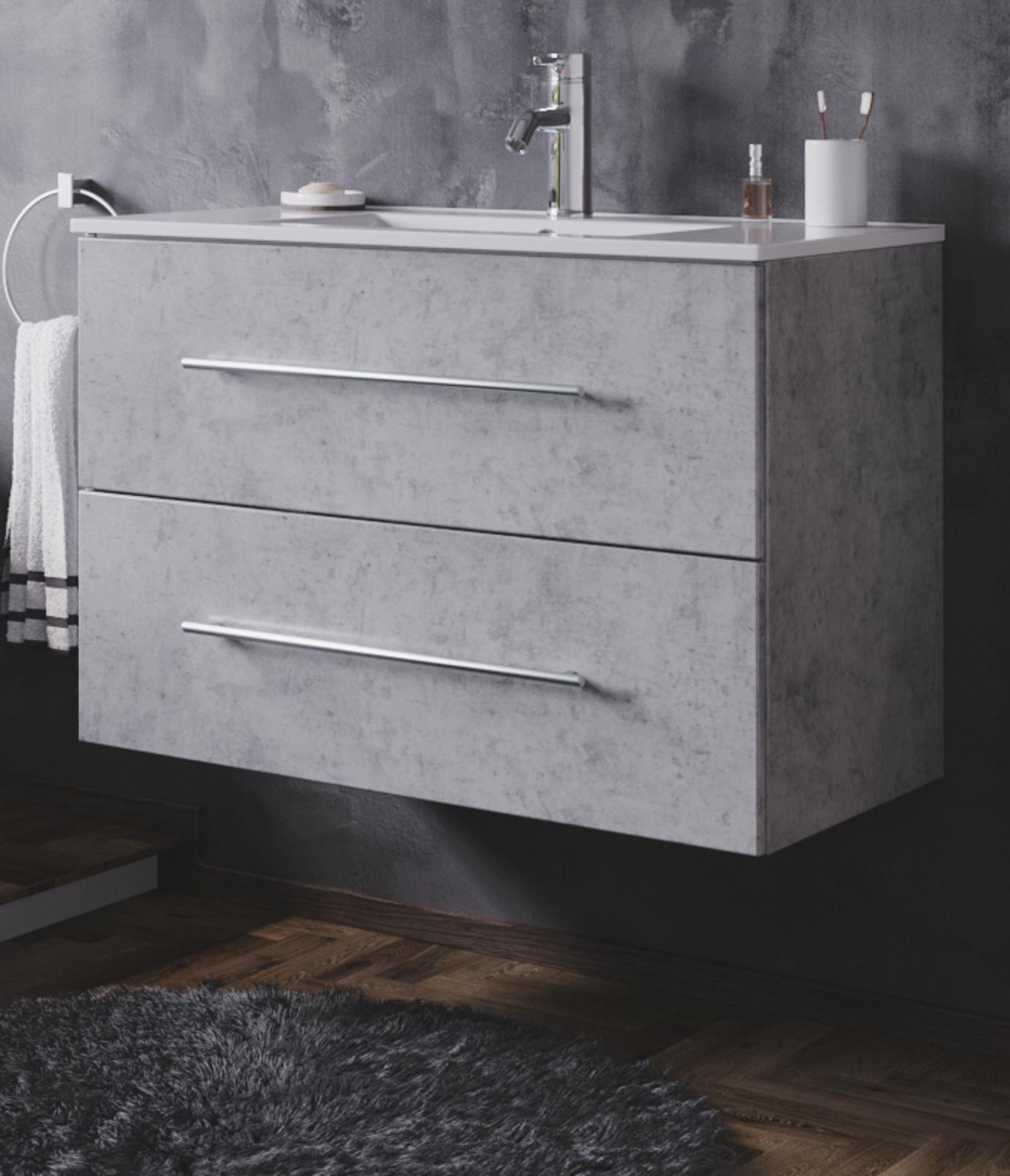 Waschbeckenunterschrank Homeline in Stone Design grau Waschtisch hängend  inkl. Waschbecken 20 teilig 20 x 20 cm