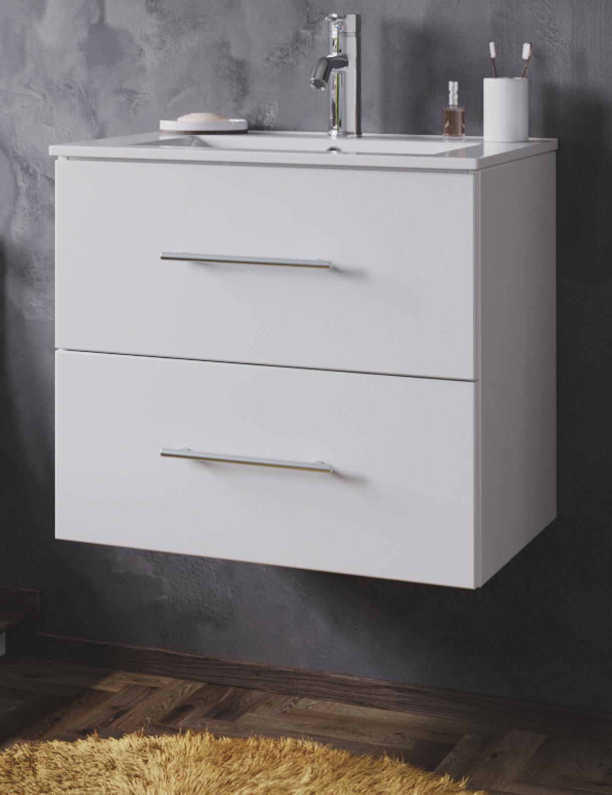 60 cm Waschbeckenunterschrank mit Waschbecken Landhaus weiß Waschtisch Ole ca