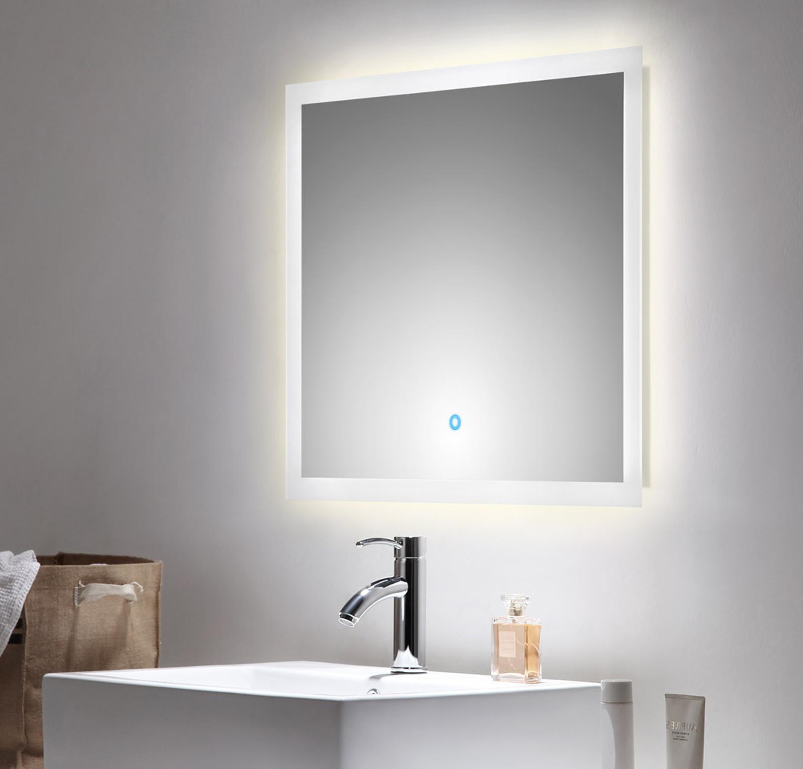 Badspiegel Homeline inkl. LED Beleuchtung mit Touch Bedienung Badezimmer  Spiegel weiß 20 x 20 cm