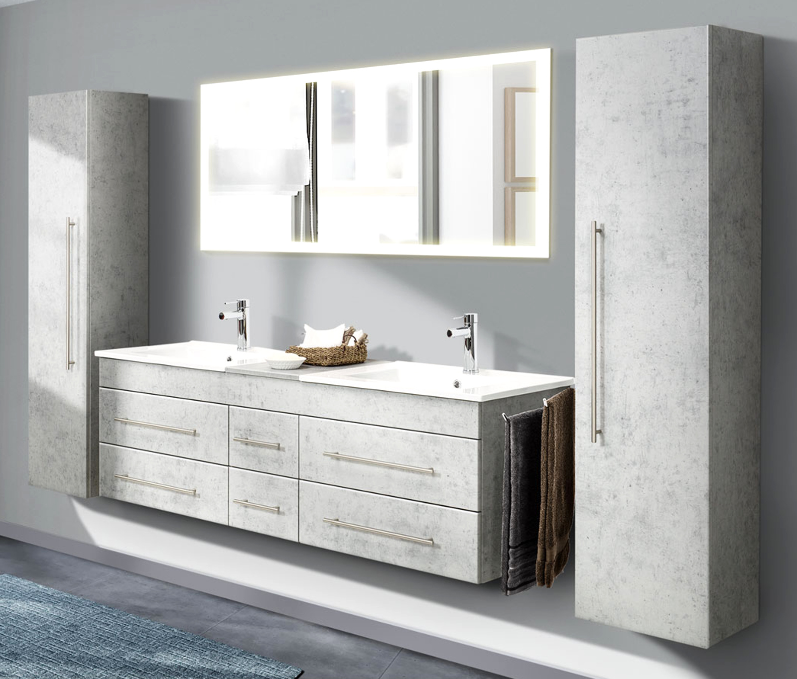 Badkombination Nero XL in Stone Design grau Badmöbel Set inkl.  Doppelwaschtisch und Spiegel mit Beleuchtung 20 x 20 cm
