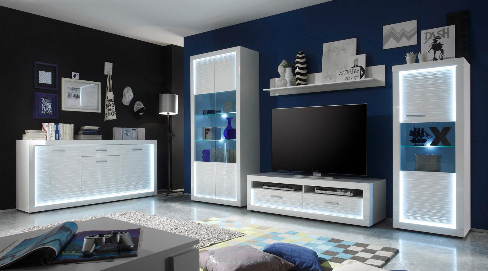 Wohnwand weiß hochglanz mit holz  Wohnwand weiß Hochglanz Rillenoptik mit LED