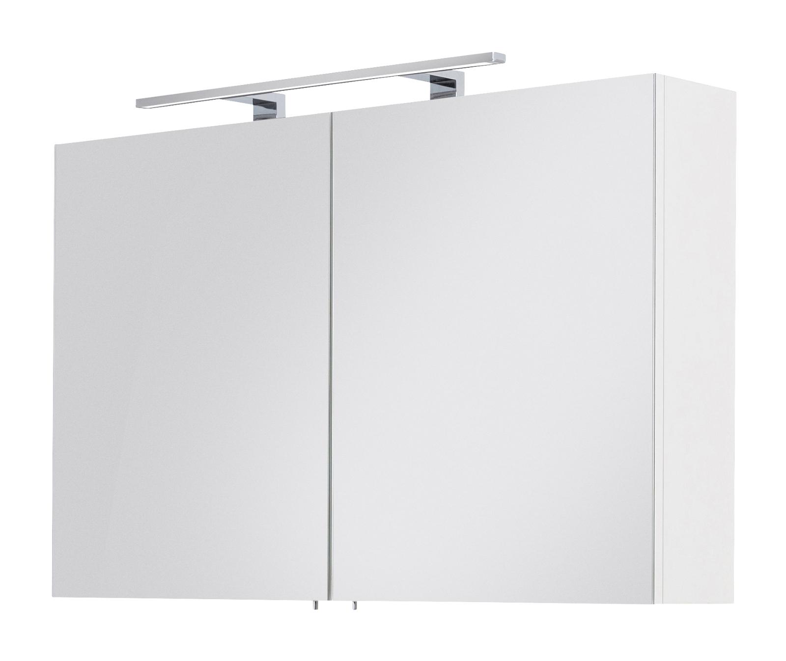 Badezimmer Spiegelschrank Viva in weiß inklusive LED Spiegellampe 15 x 15  cm 15-türig