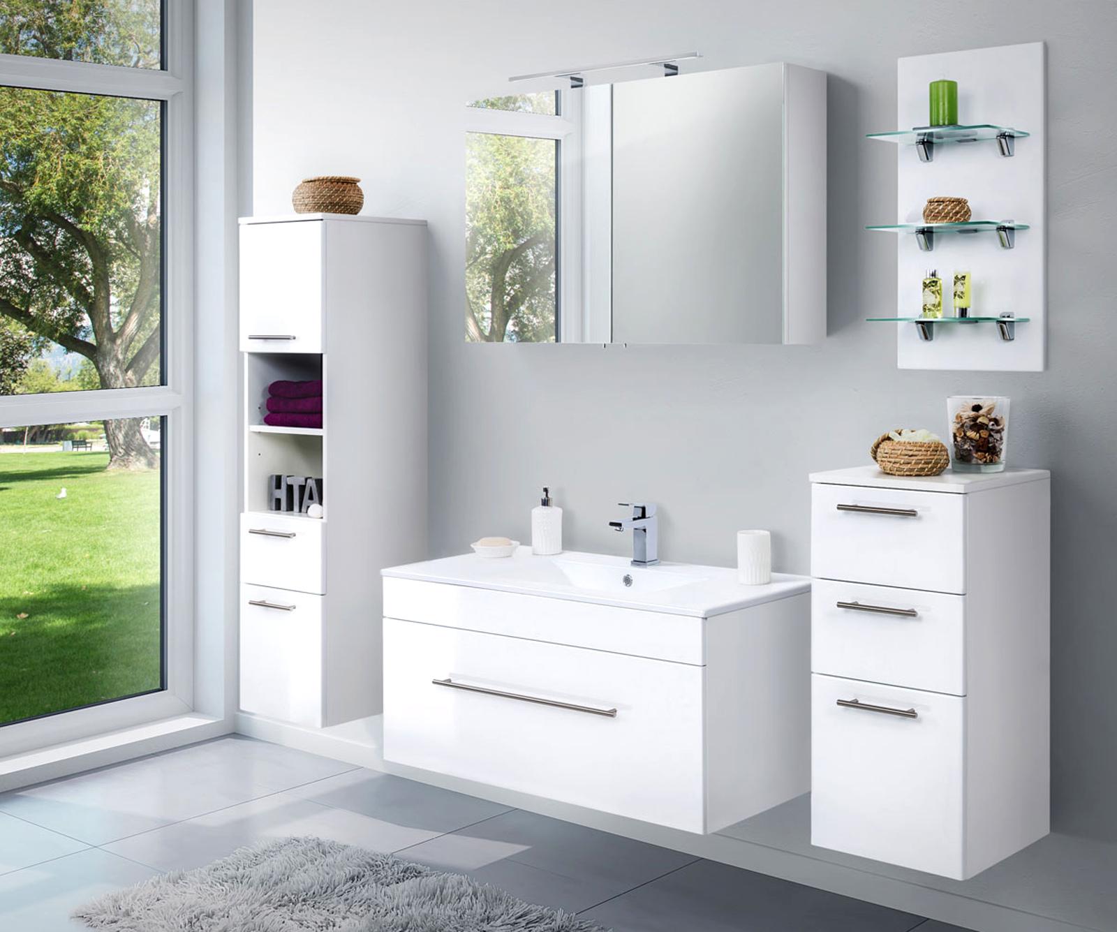 Badkombination Viva in Hochglanz weiß Badmöbel inkl. Waschbecken und LED  Beleuchtung Set 16-tlg. 16 cm