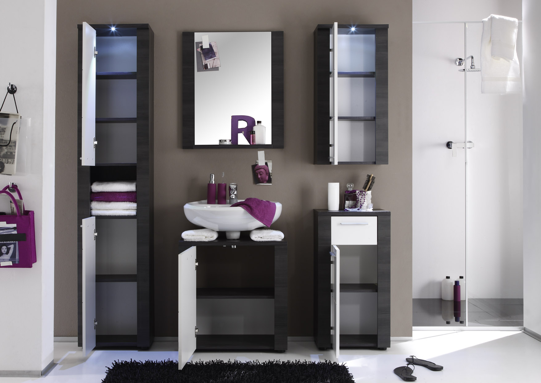 badm bel xpress esche grau wei g nstig kaufen. Black Bedroom Furniture Sets. Home Design Ideas