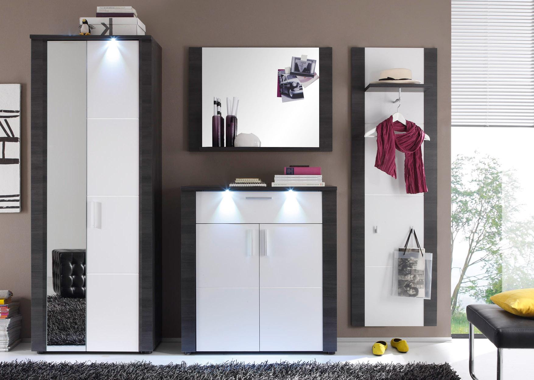 Garderobe Garderobenschrank Xpress Esche Grau Und Weiß 69 X 184 Cm Inkl Led Beleuchtung