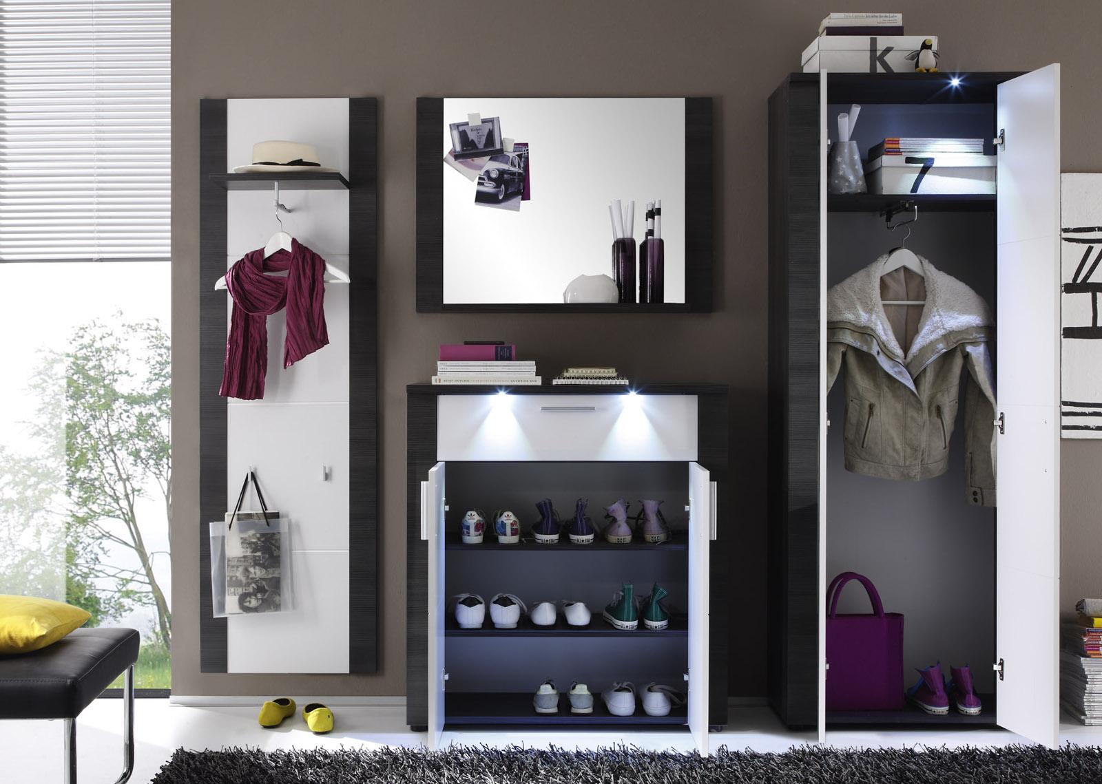 garderoben set flur garderobe wei und esche grau. Black Bedroom Furniture Sets. Home Design Ideas