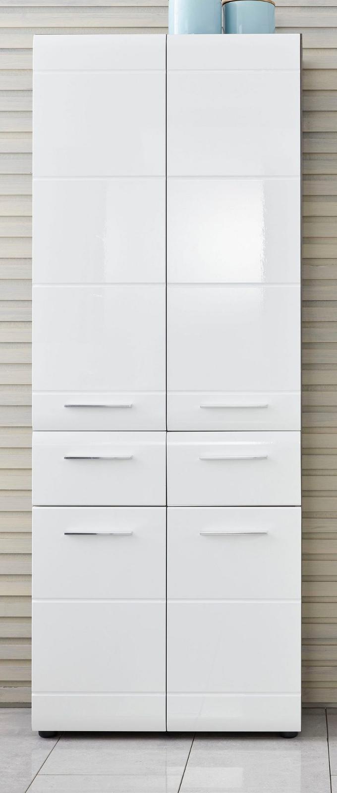Badezimmer Hochschrank Line in Hochglanz weiß und Sardegna grau Rauchsilber  20 x 20 cm