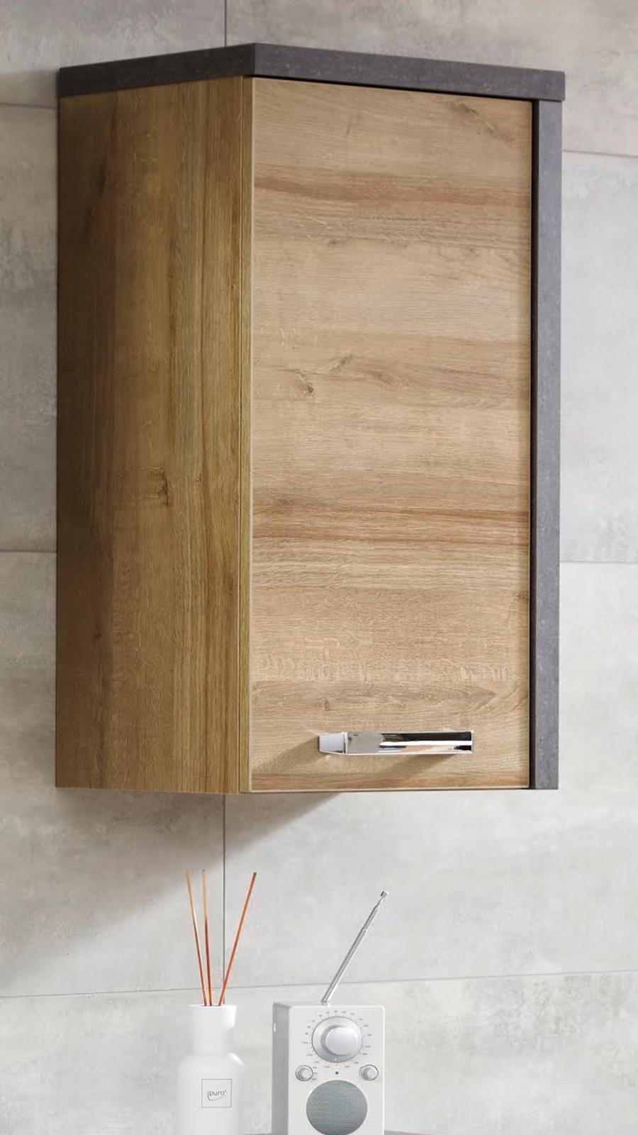 """Badezimmer Hängeschrank """"Bay"""" in Eiche Riviera und Beton grau Badschrank 18  x 18 cm"""