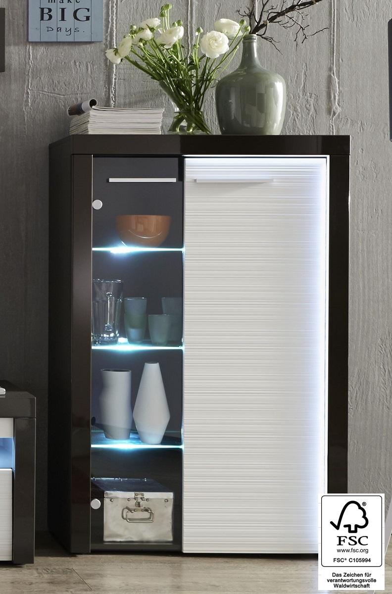 vitrine flamingo wei grau mit rillenoptik. Black Bedroom Furniture Sets. Home Design Ideas