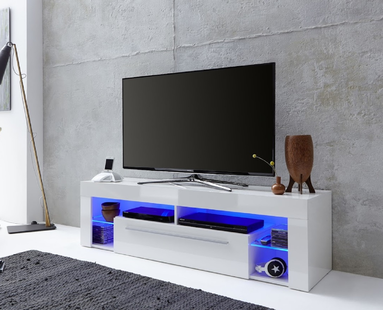 lowboard wei hochglanz tv hifi fernseh rack unterteil led. Black Bedroom Furniture Sets. Home Design Ideas