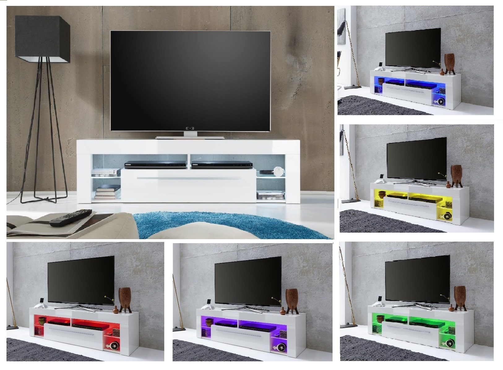lowboard wei hochglanz tv hifi fernseh rack unterteil led rgb beleuchtung score ebay. Black Bedroom Furniture Sets. Home Design Ideas