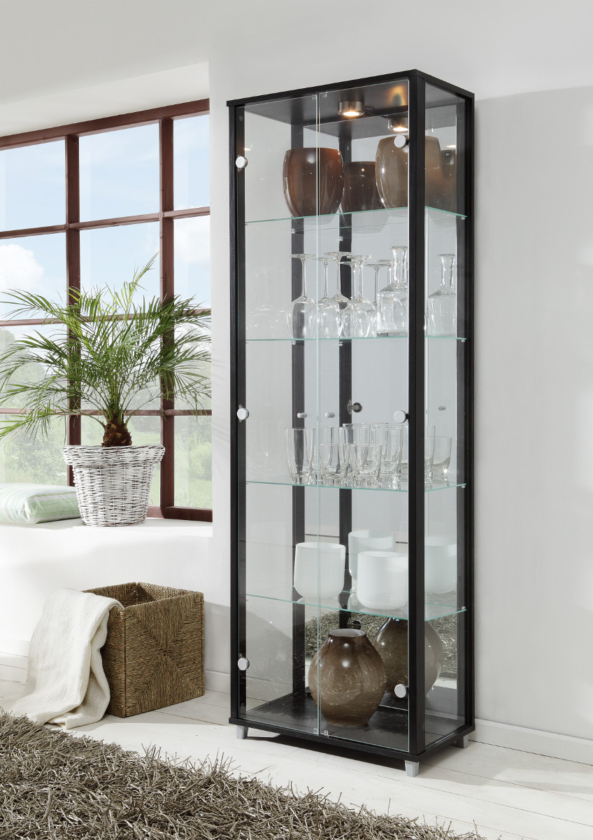 vitrine glasvitrine 2 t rig schwarz mit struktur. Black Bedroom Furniture Sets. Home Design Ideas