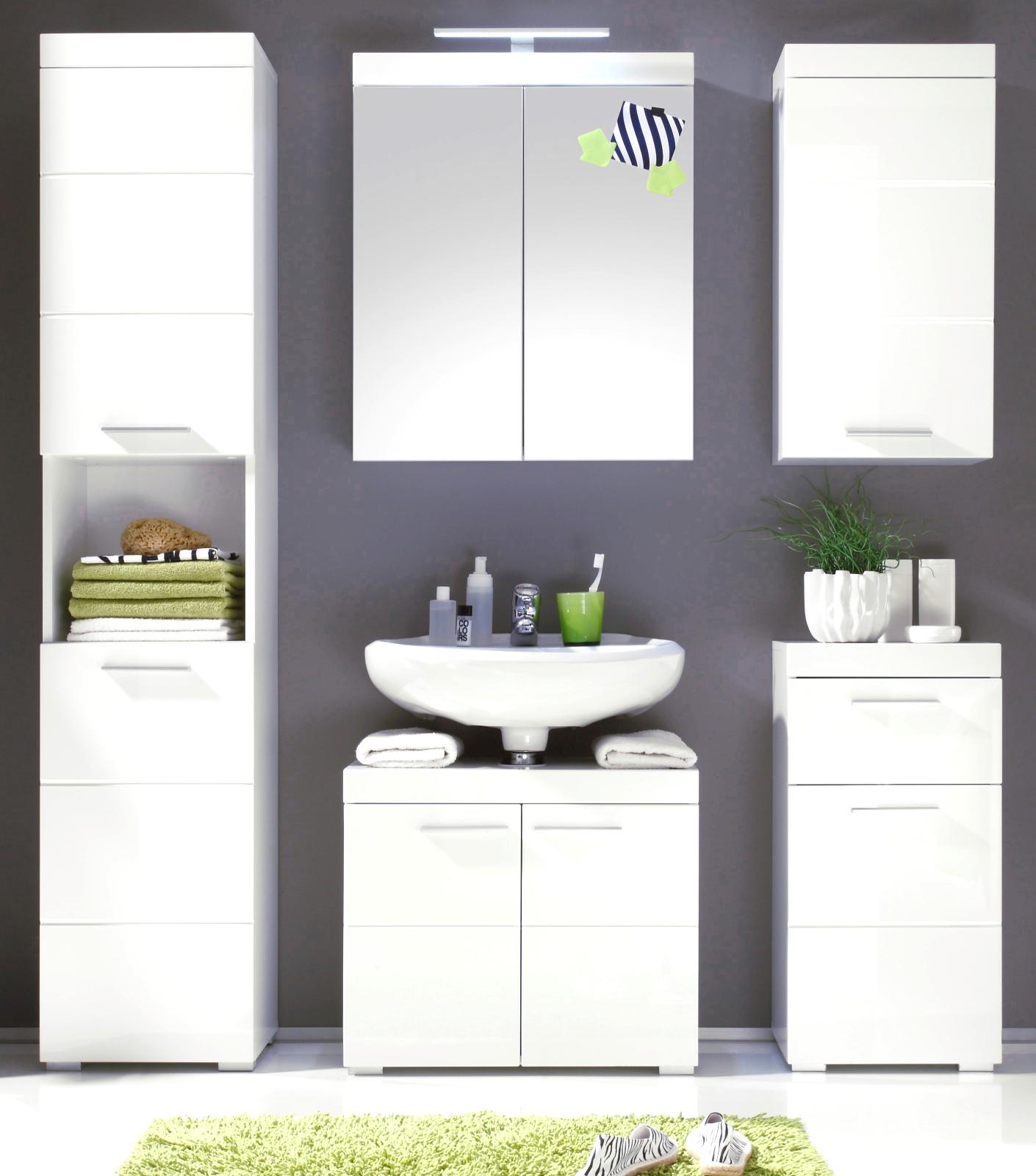 badezimmer hochschrank amanda hochglanz wei. Black Bedroom Furniture Sets. Home Design Ideas