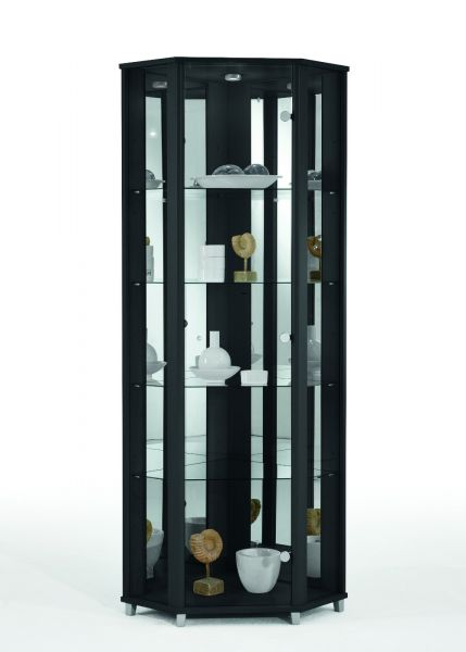 eckvitrine vitrine glasvitrine schwarz. Black Bedroom Furniture Sets. Home Design Ideas