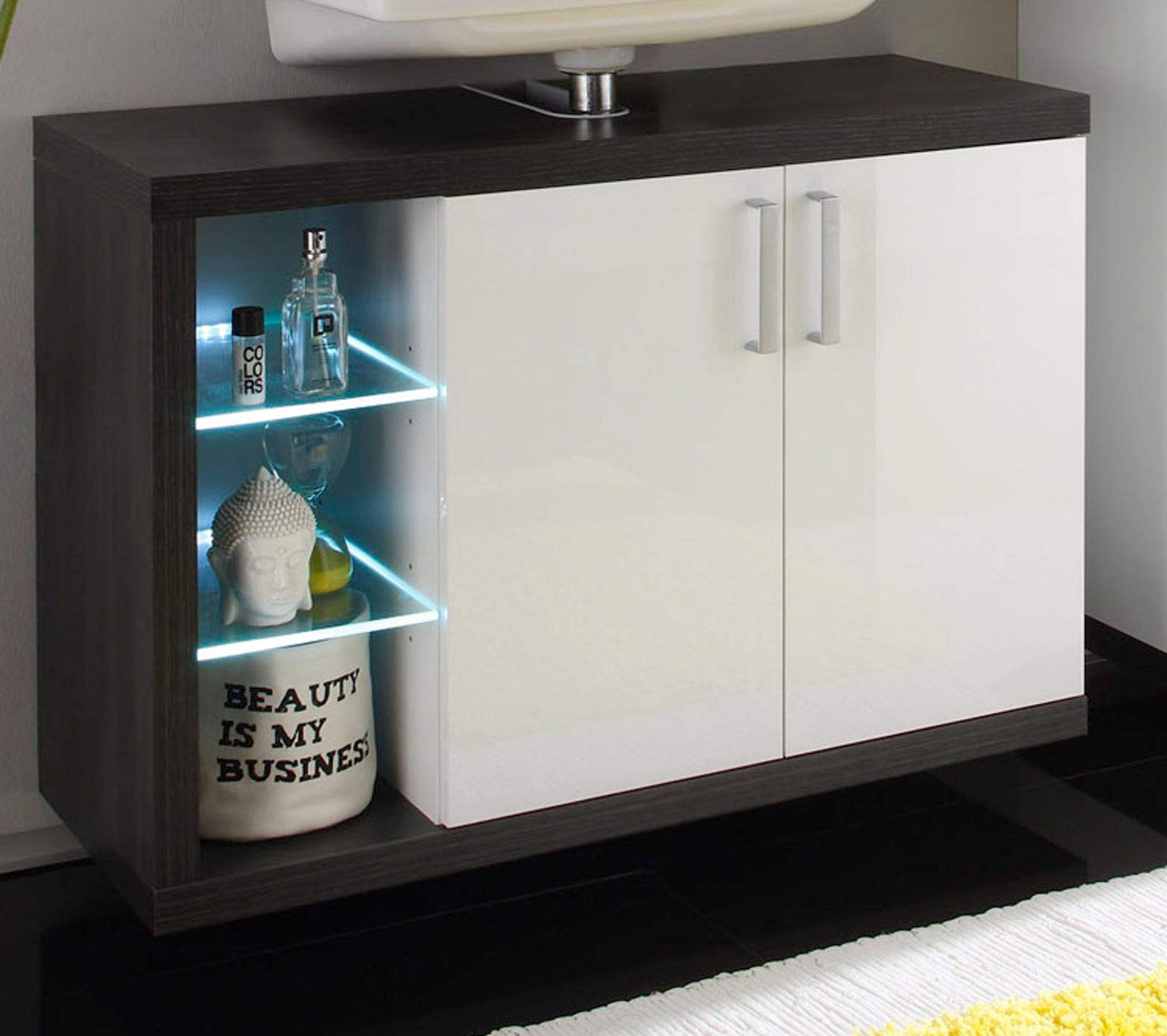 Waschbeckenunterschrank hängend  Badmöbel Sunrise Weiß/Silber günstig online kaufen