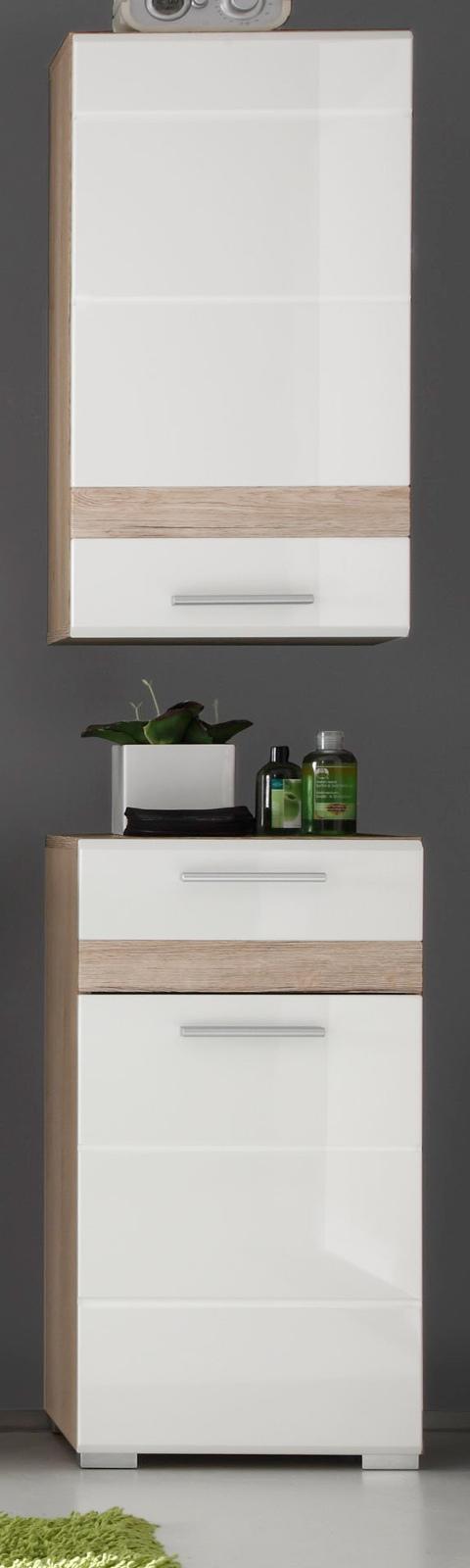 badm bel set one eiche hell wei hochglanz kaufen. Black Bedroom Furniture Sets. Home Design Ideas