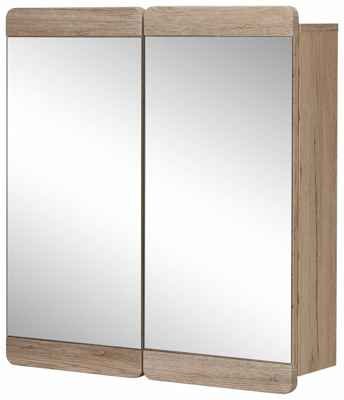 spiegelschrank malea badezimmerschrank eiche san remo hell 65 x 70 x 15 cm - Badezimmerschrank