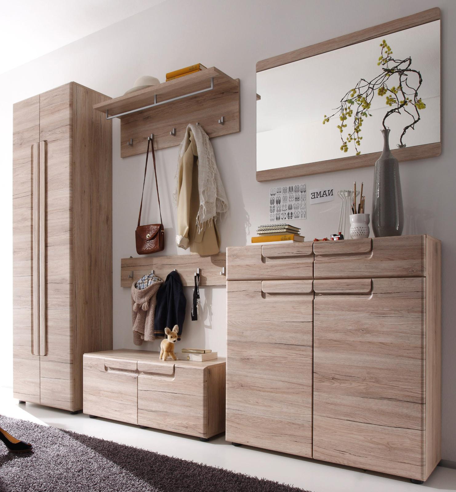 garderoben set mit sitzbank flur diele garderobe in eiche san remo 6 tlg mal. Black Bedroom Furniture Sets. Home Design Ideas