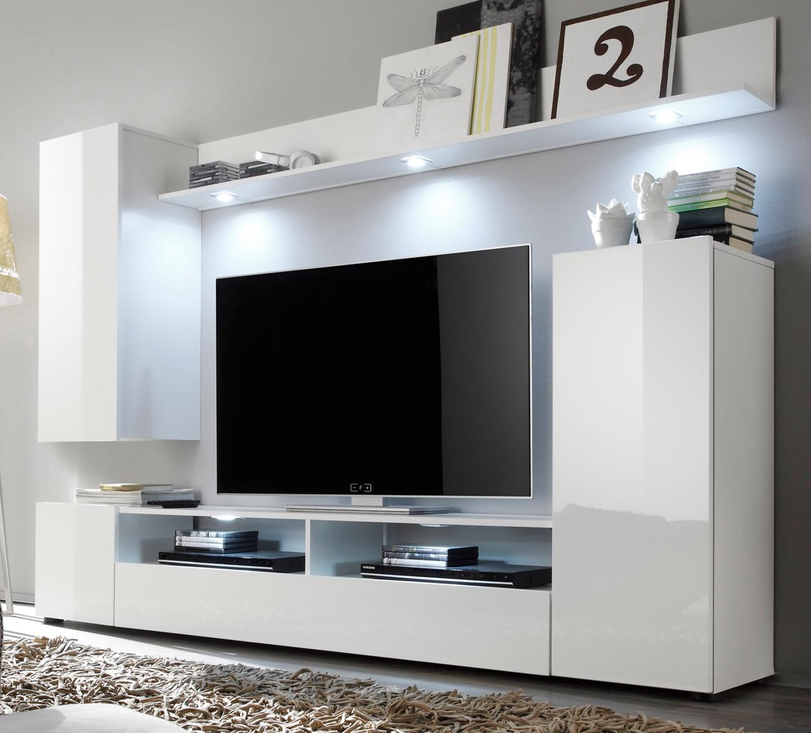 wohnwand wei hochglanz wohnzimmer tv hifi m bel. Black Bedroom Furniture Sets. Home Design Ideas