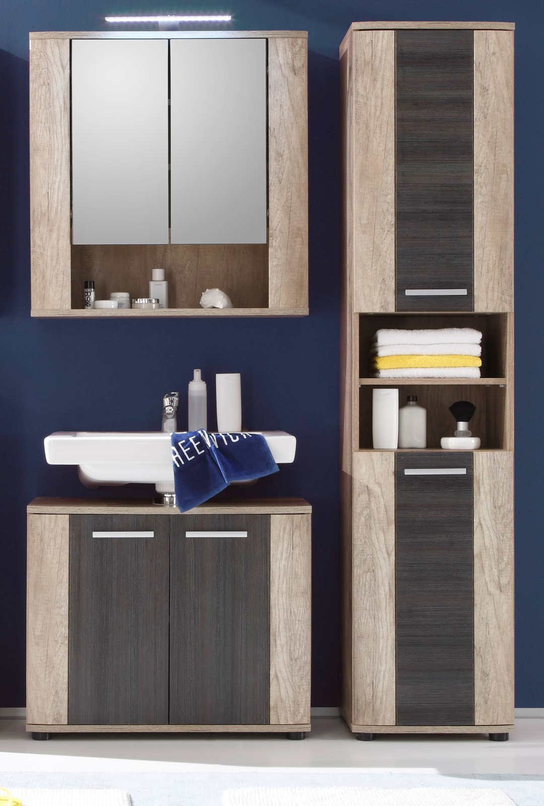 Spiegelschrank bad eiche  Badmöbel SUN Eiche hell / Touchwood dunkel kaufen