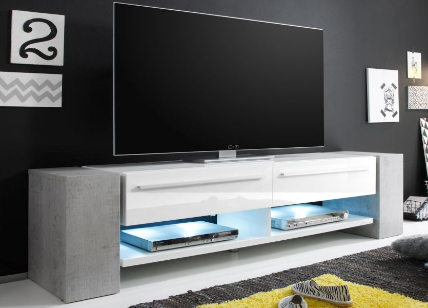 tv lowboard wei hochglanz und beton design 210 cm. Black Bedroom Furniture Sets. Home Design Ideas