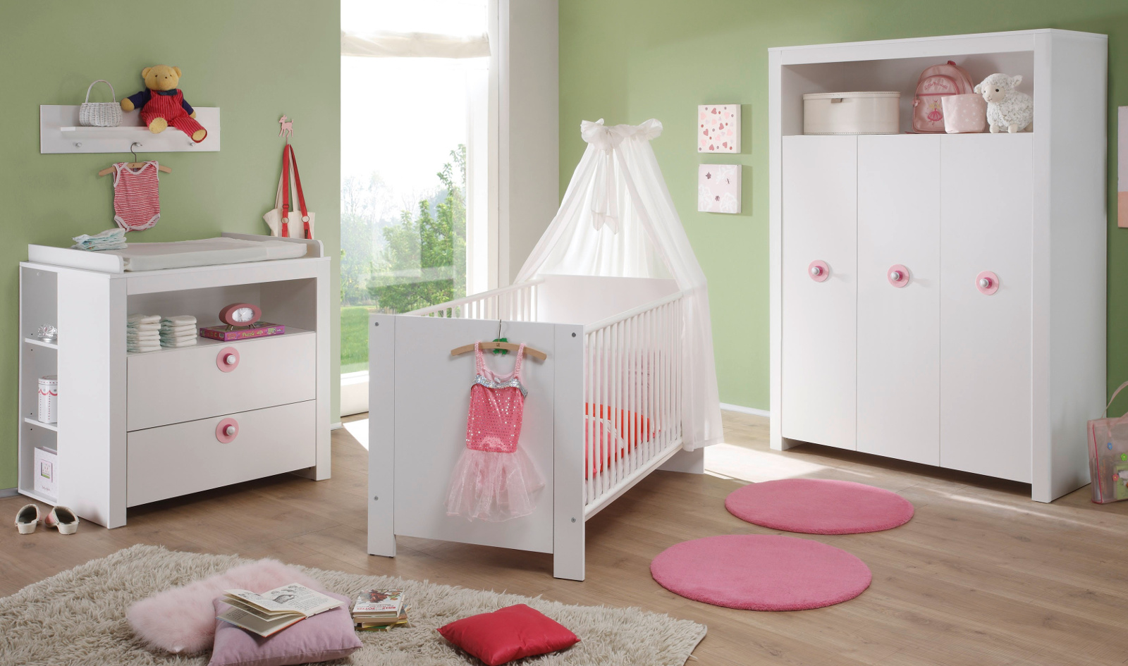 babyzimmer olivia 5 teilig wei mit rosa. Black Bedroom Furniture Sets. Home Design Ideas