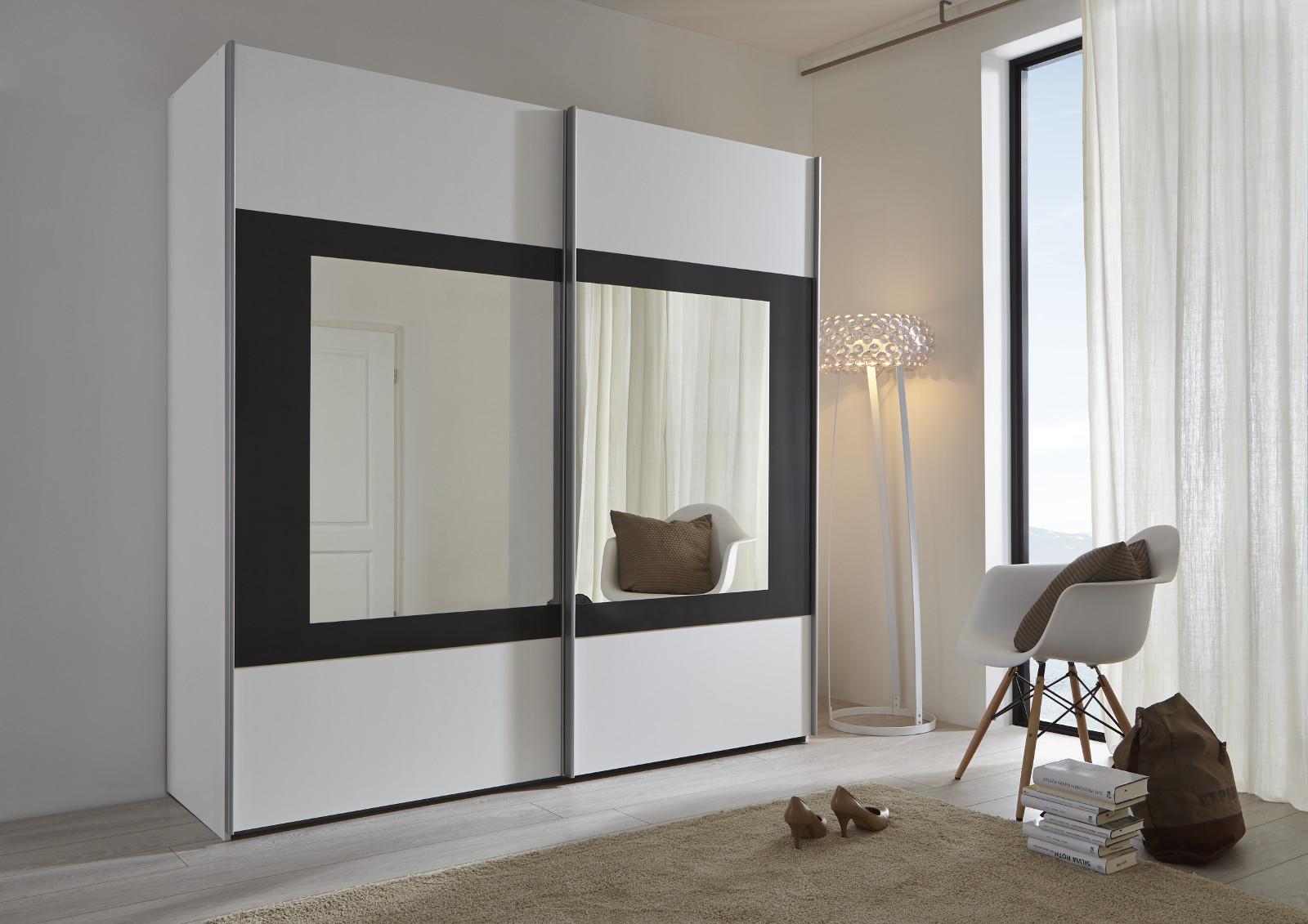 Schwebet renschrank kleiderschrank schwarz spiegel - Spiegel mit spiegelrahmen ...