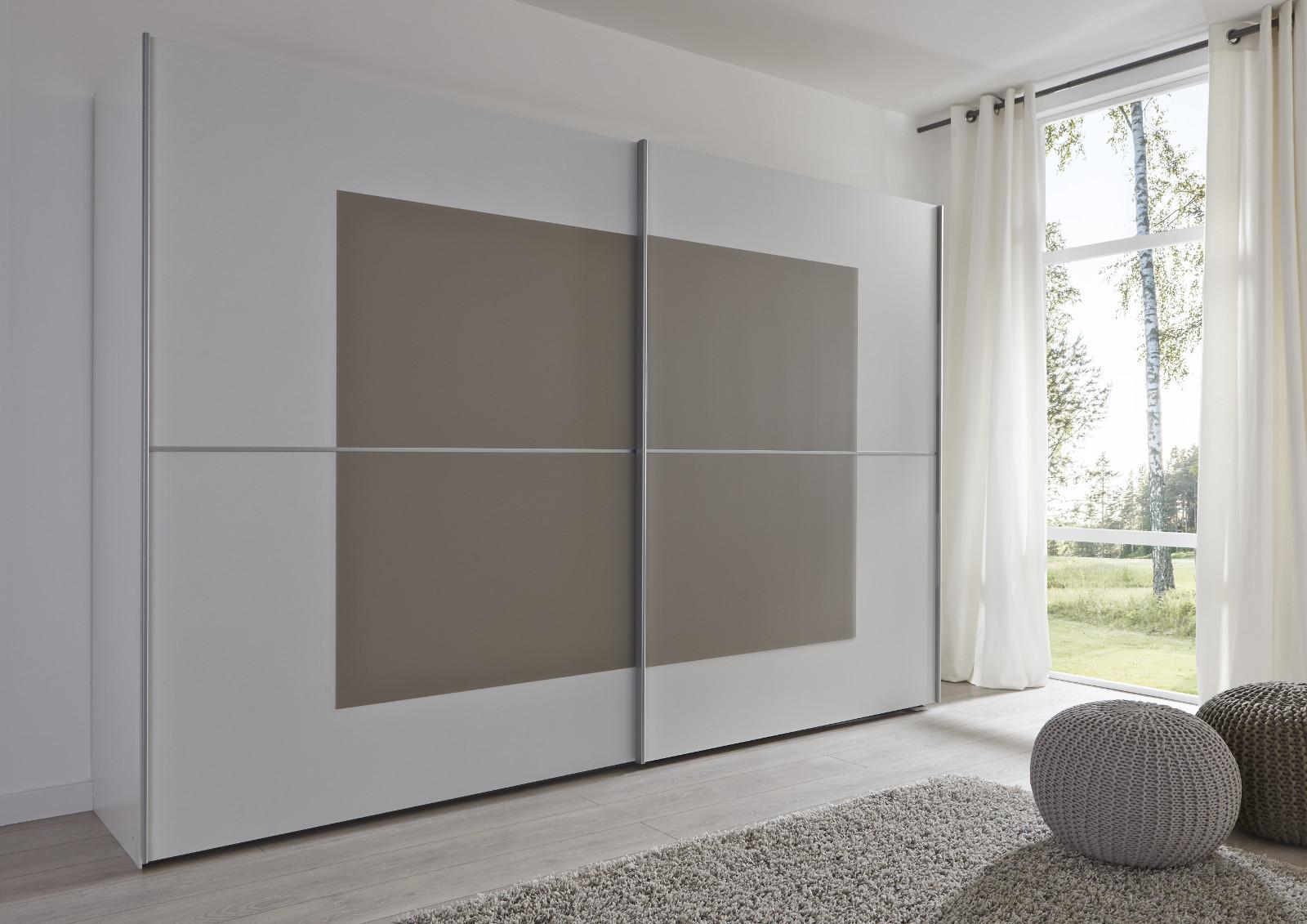 Schwebeturenschrank Kleiderschrank Dekor Weiss Mit Glas Sandfarben Breite 301 Cm