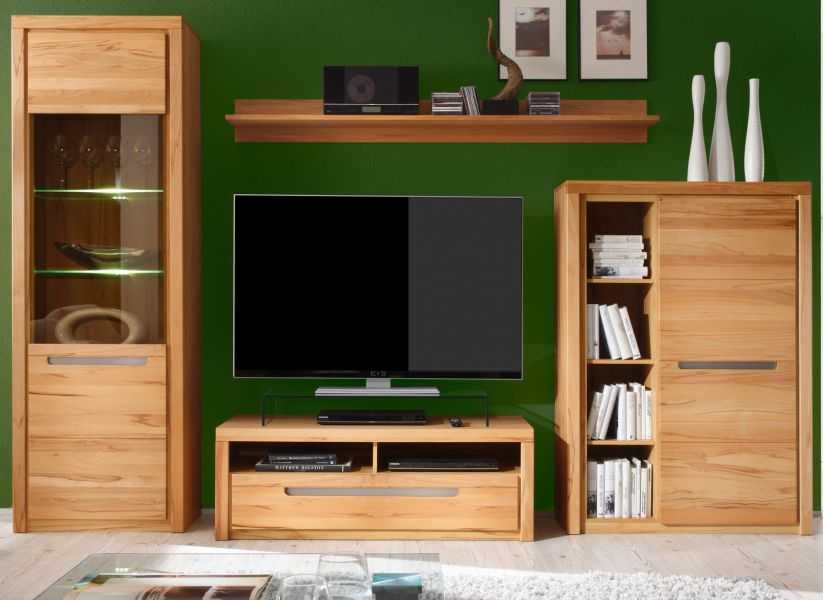 wohnwand zino kernbuche massiv g nstig kaufen. Black Bedroom Furniture Sets. Home Design Ideas
