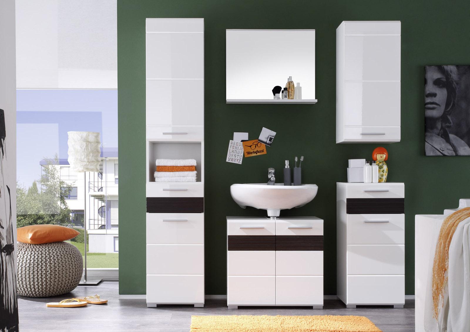 badezimmer set mezzo wei hochglanz mit eiche dunkel. Black Bedroom Furniture Sets. Home Design Ideas