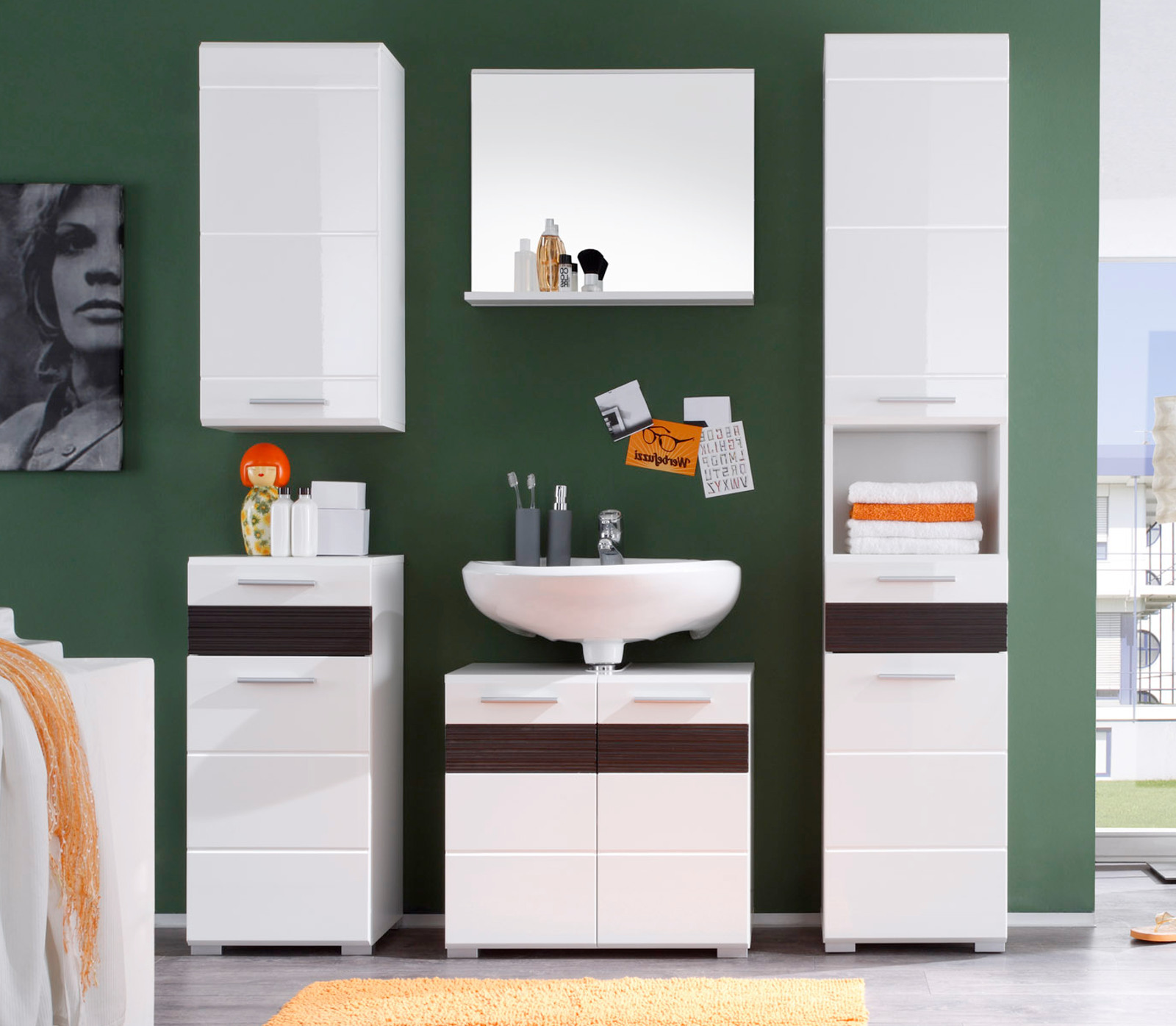 Badezimmer set mezzo wei hochglanz mit eiche dunkel - Badezimmer set ...