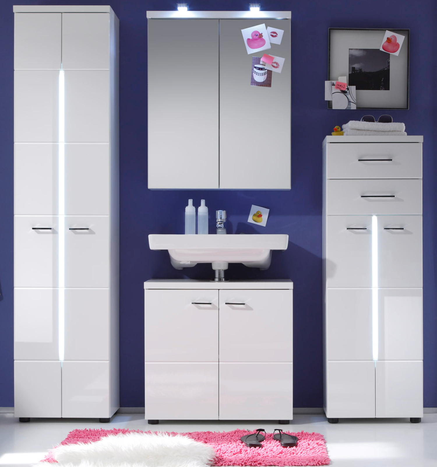 badm bel nightlife wei hochglanz g nstig kaufen. Black Bedroom Furniture Sets. Home Design Ideas