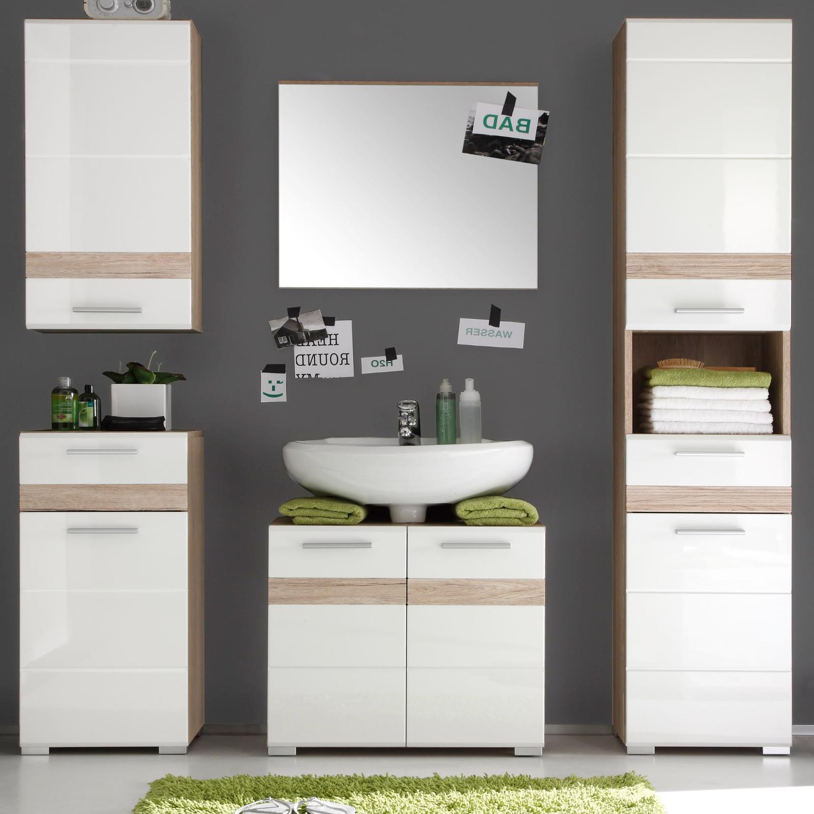 Badezimmermöbel set weiß hochglanz  Badmöbel Set One Eiche hell/Weiß Hochglanz kaufen