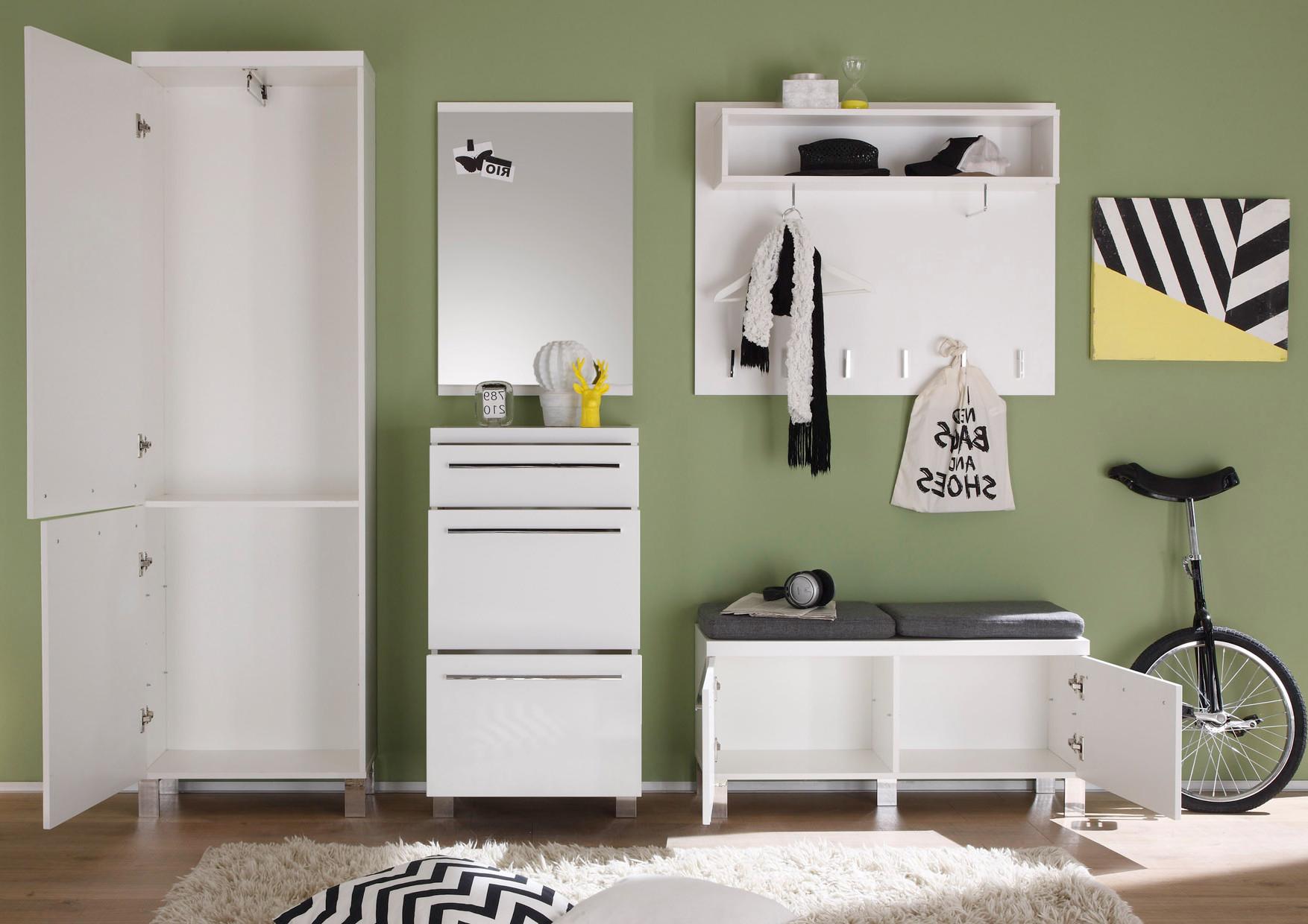 garderobe schuhschrank hochglanz wei. Black Bedroom Furniture Sets. Home Design Ideas