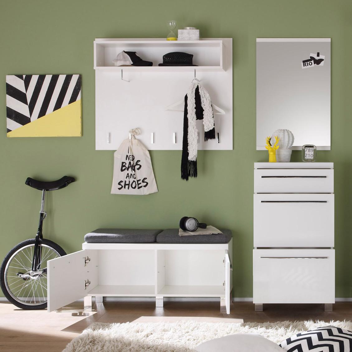 garderoben set wei hochglanz flurgarderobe mit paneel. Black Bedroom Furniture Sets. Home Design Ideas
