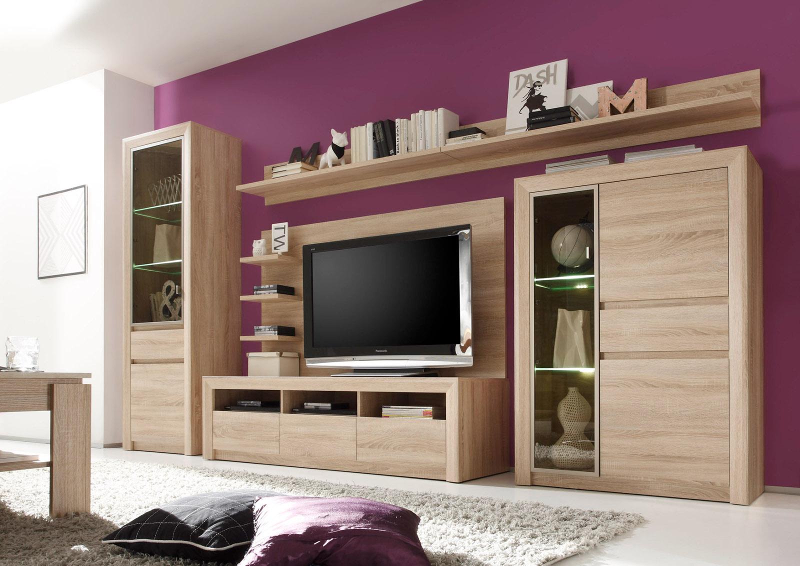 wohnwand schrankwand eiche sonoma hell. Black Bedroom Furniture Sets. Home Design Ideas