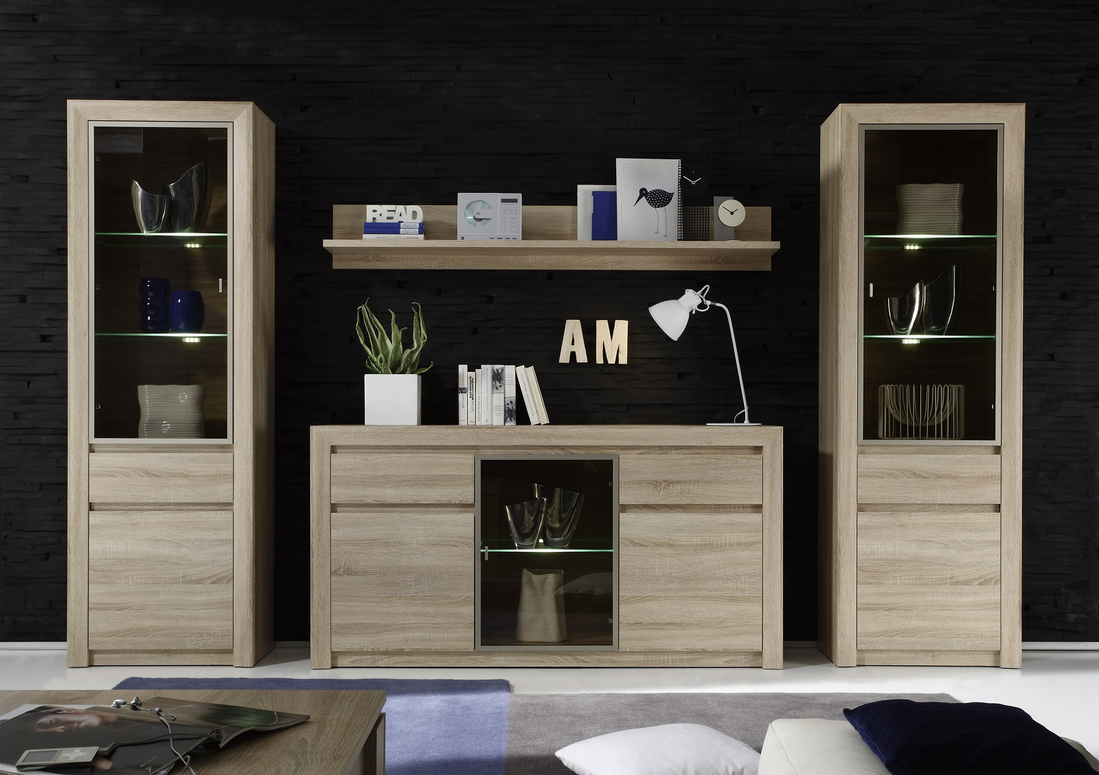 hochschrank vitrine sevilla eiche sonoma hell. Black Bedroom Furniture Sets. Home Design Ideas