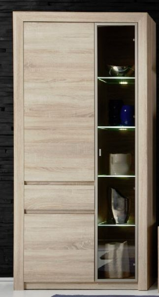 vitrine schrank standvitrine sevilla eiche sonoma hell highboard mit beleuchtung ebay. Black Bedroom Furniture Sets. Home Design Ideas