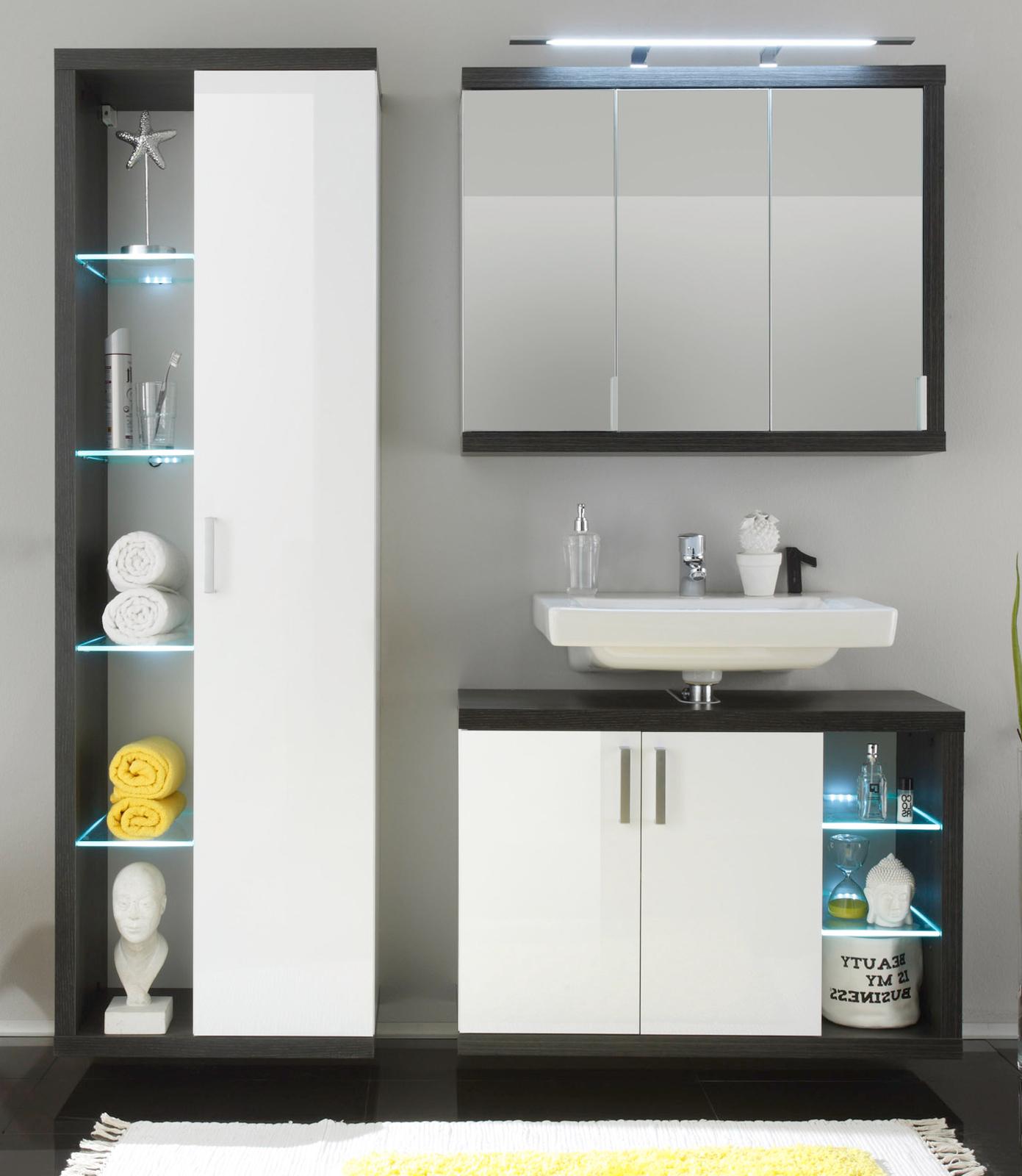 Badmöbel Sunrise Weiß/Silber günstig online kaufen