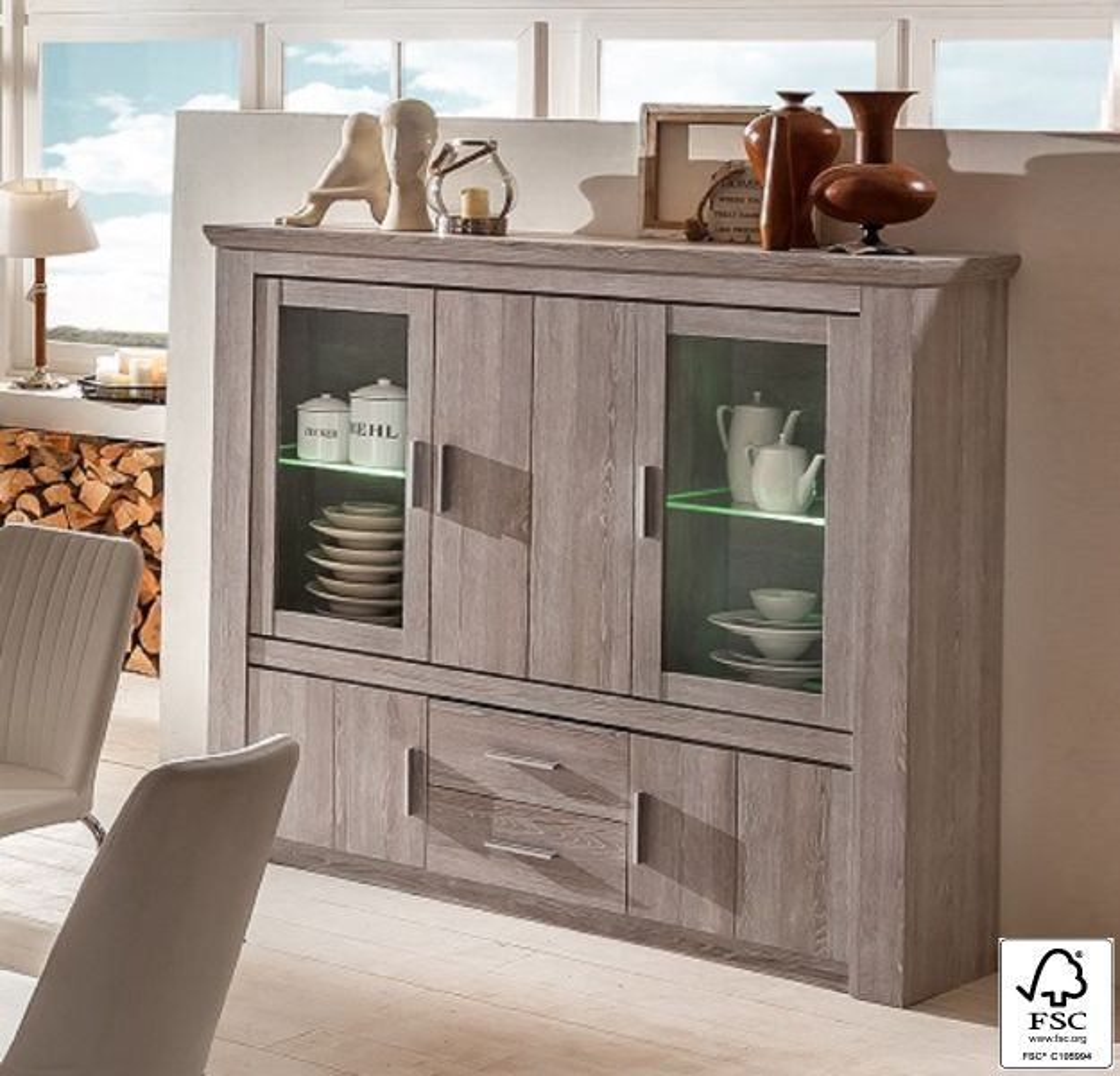 wohnwand wohnkombination mit highboard sylt 5 tlg eiche sheffield kaufen bei. Black Bedroom Furniture Sets. Home Design Ideas