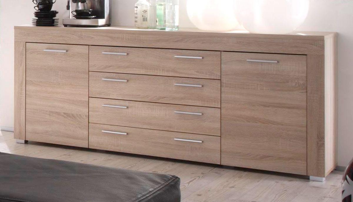 sideboard boom kommode sonoma eiche hell wohnzimmer schrank esszimmer anrichte ebay. Black Bedroom Furniture Sets. Home Design Ideas