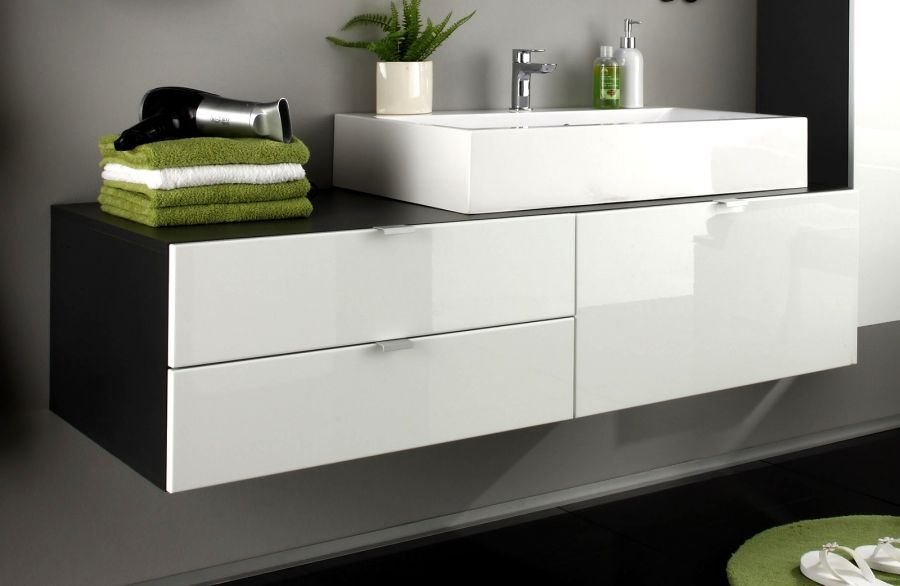 vier meuble de dessous lavabo bain armoire blanc haute brillance gris plage ebay. Black Bedroom Furniture Sets. Home Design Ideas