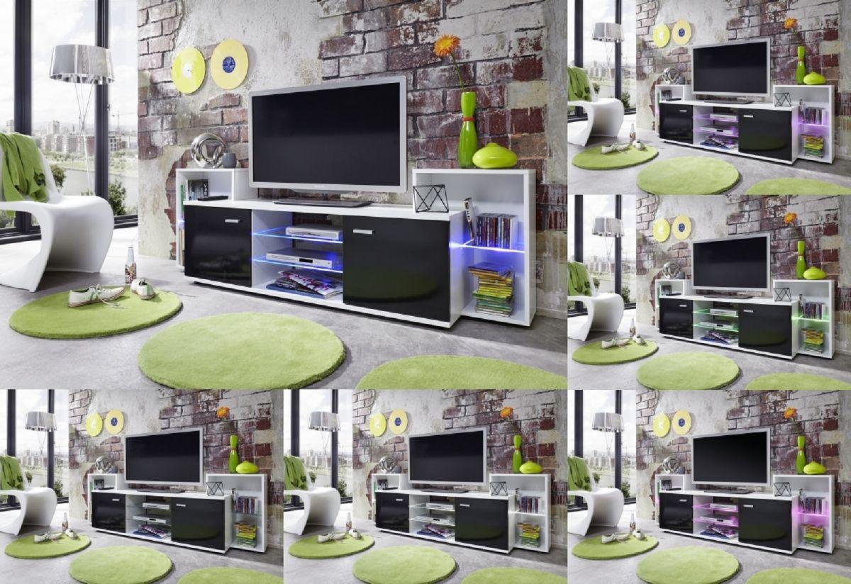 tv hifi lowboard fernsehboard schrank xenon schwarz gl nzend und wei rgb led kaufen bei. Black Bedroom Furniture Sets. Home Design Ideas