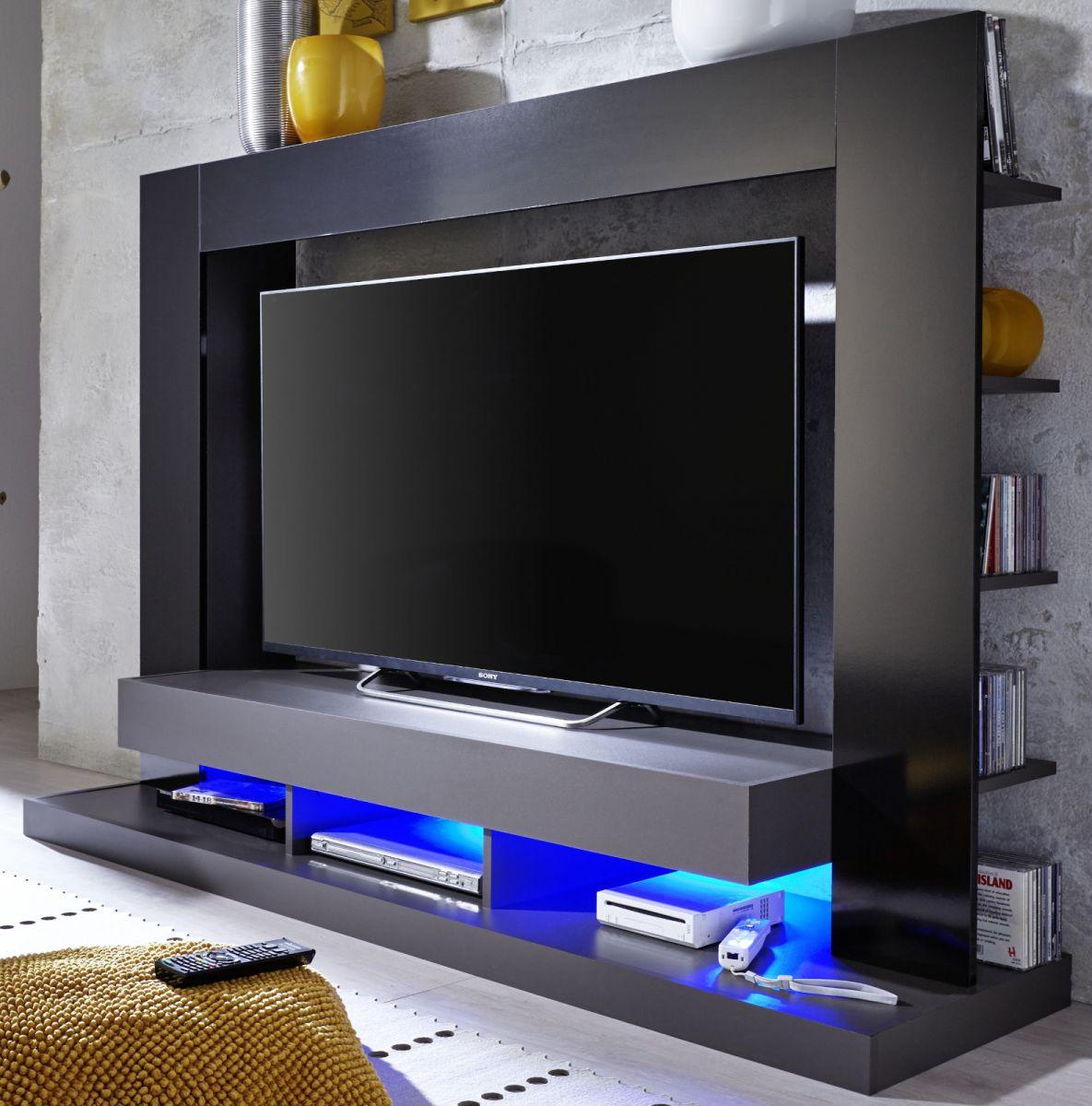 Trendteam Medienwand TV Schrank Cyneplex schwarz grau glänzend 164 x 124 cm