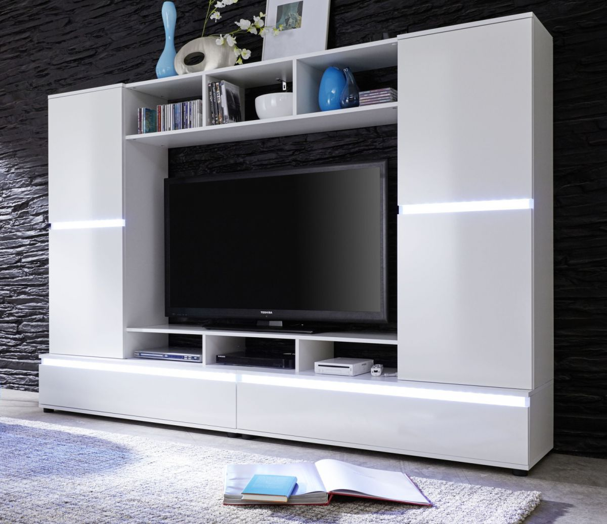 wohnwand mediawand in wei glanz fernsehschrank 220 cm 55 tv hifi m bel ttx01 ebay. Black Bedroom Furniture Sets. Home Design Ideas